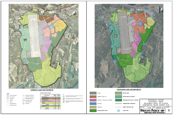 A comparison of the current plan, left, with proposed new amended plan on right.