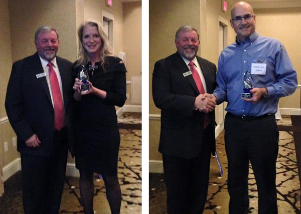 Heather Blease, CEO of SaviLinx, and Stewart Hunt, U.S. Operations Manager for InSphero, accept their awards from MRRA Executive Director Steve Levesque.